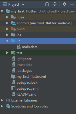 Panel Project Flutter pada Android Studio